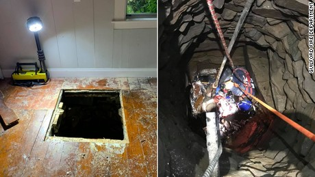 Christopher Town fell through the flooring of a Connecticut home and into the well below.