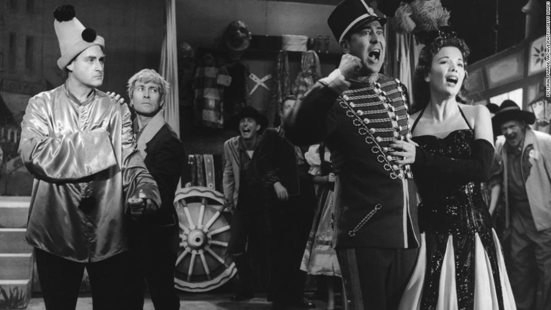 From left, Caesar, Morris, Reiner and Fabray perform a spoof opera scene in 1956.