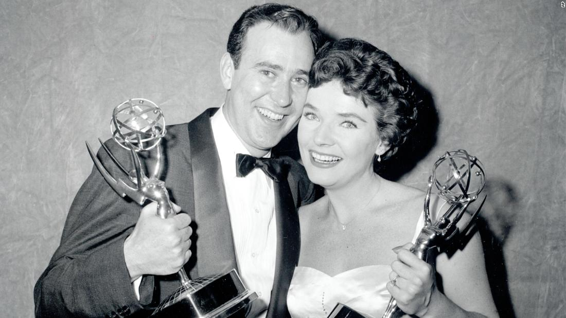 "Reiner and Polly Bergen pose with their statuettes at the 1958 Emmy Awards in New York. Reiner won the Emmy for best continuing supporting performance by an actor in drama or comedy for ""Caesar's Hour."""