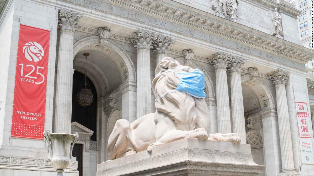 The New York Public Librarys iconic lion statues are