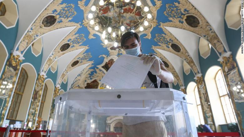 A man casts a ballot at a polling station in Moscow on Tuesday.