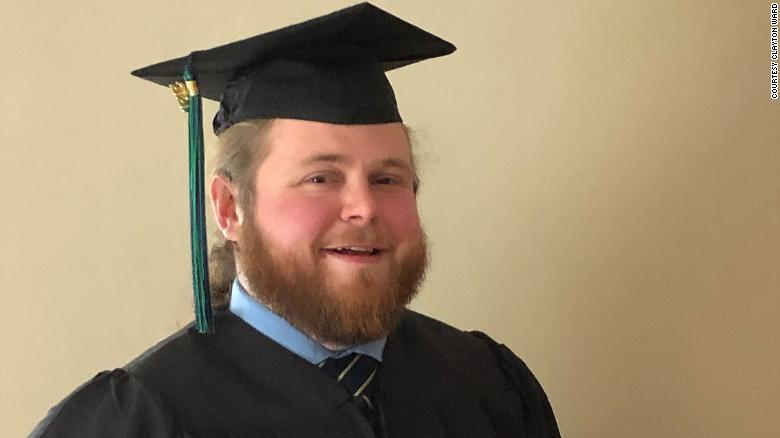 After dropping out of college 10 years ago, Clayton Ward graduated Tuesday with his associate's degree from MassBay Community College in hopes to become a high school history teacher.