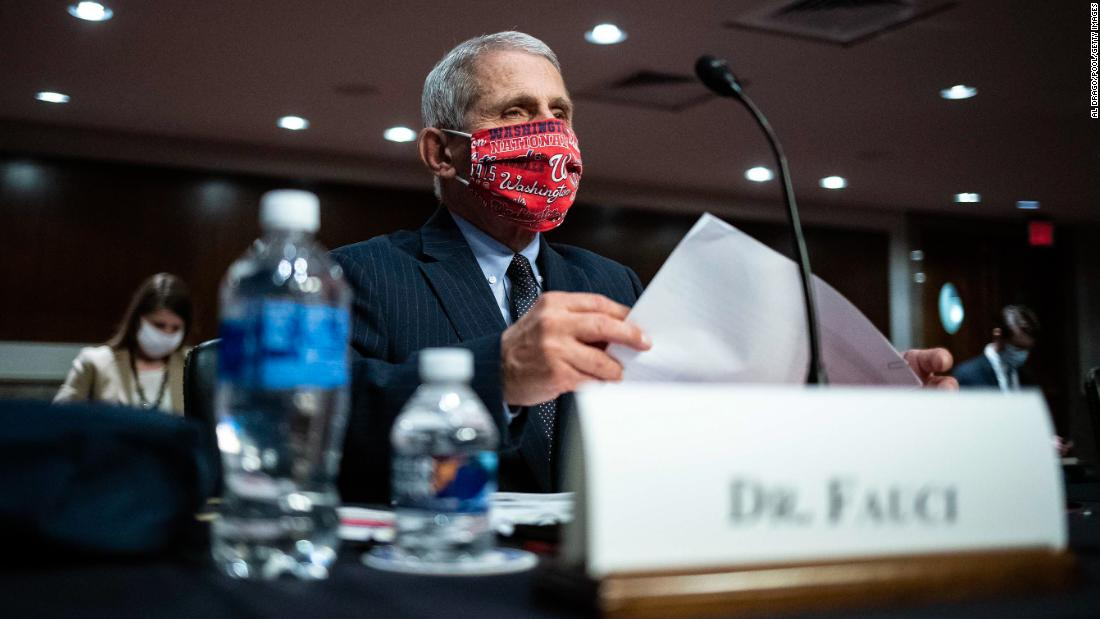 "Dr. Anthony Fauci, director of the National Institute of Allergy and Infectious Diseases, wears a Washington Nationals mask June 30 as he arrives <a href=""https://www.cnn.com/2020/06/30/politics/fauci-redford-testimony-senate-coronavirus/index.html"" target=""_blank"">to testify at a Senate committee hearing</a> about the coronavirus pandemic. Fauci issued a stark warning to lawmakers, telling them he wouldn't be surprised if the United States sees new cases of coronavirus rising to a level of 100,000 a day."