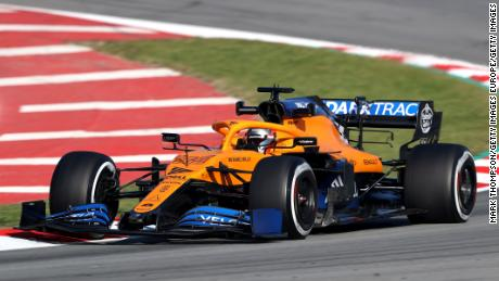 Sainz drives for McLaren during day three of F1 Winter Testing in Barcelona.