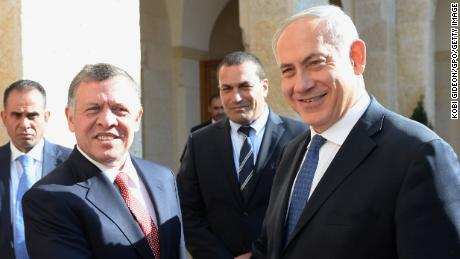 In this handout image supplied by the Israeli Government Press Office (GPO), Prime Minister Benjamin Netanyahu meets Jordan's King Abdullah II , during a visit to Amman on Jan 16, 2014 in Amman, Jordan.