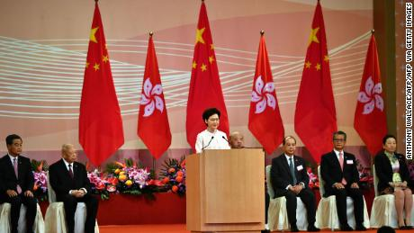 Hong Kong CEO Carrie Lam following a flag-raising ceremony to mark the handover on July 1, 2020.