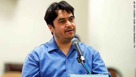 Journalist Ruhollah Zam speaks during his trial at the Revolutionary Court, in Tehran on June 2, 2020.