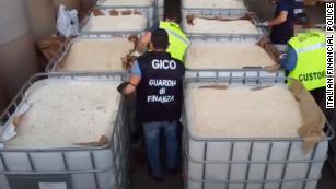 The pills were found inside paper cylinders at the port of Salerno.
