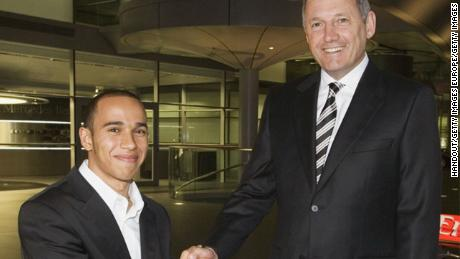 Hamilton joined McLaren's Young Driver Development programme in 1998 and signed for the F1 team in 2007. Here he is pictured with former McLaren boss Ron Dennis.
