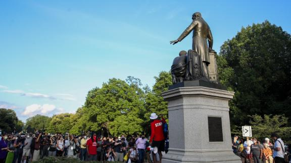 Protesters gather at Lincoln Park to demand the Emancipation Memorial be taken down on June 23, 2020 in Washington, DC.