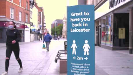 Signs explaining social distancing on display during the second lockdown in the English city of Leicester.