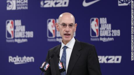 Silver speaks during a press conference prior to the preseason game between Houston Rockets and Toronto Raptors in Saitama, Japan.
