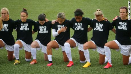Players across the National Women's Soccer League knelt during the National Anthem before games for the league's Challenge Cup tournament.