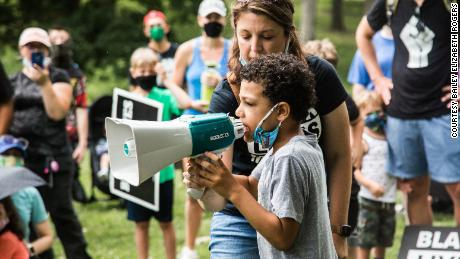 8-year-old Nolan Davis speaking at the Black Lives Matter protest he led Saturday in Kirkwood, Missouri.
