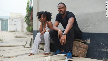 Beverly Naya and 'Skin' director Etim Effiong on the set of the documentary.