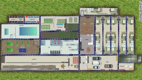 A floor plan of a Rising S bunker.