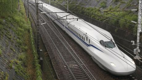 A N700S shinkansen bullet train traveling through central Japan, on a trial basis on June 13, 2020. The fully remodeled shinkansen for the Tokaido shinkansen line, the first in 13 years, will commence commercial service on July 1 initially linking Tokyo with Osaka. (Photo by Kyodo News via Getty Images)