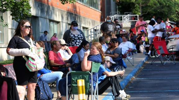 Hundreds of unemployed Kentucky residents wait in long lines outside the Kentucky Career Center for help with their unemployment claims on June 19, 2020 in Frankfort, Kentucky. (Photo by John Sommers II/Getty Images)