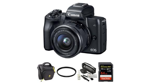 Canon Eos M50 Mirrorless Digital Camera with 15-45mm Lens and Accessory Kit