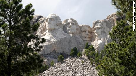 KEYSTONE, SOUTH DAKOTA - JULY 01: The busts of U.S. presidents George Washington, Thomas Jefferson, Theodore Roosevelt and Abraham Lincoln tower over the Black Hills at Mount Rushmore National Monument on July 01, 2020 in Keystone, South Dakota. President Donald Trump is expected to visit the monument and  make remarks before the start of a fireworks display on July 3. (Photo by Scott Olson/Getty Images)