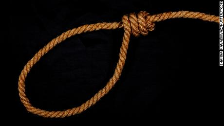 A rope tied in a noose knot is displayed. Home Depot recently modified how it packages and sells rope in response to past noose-related incidents.