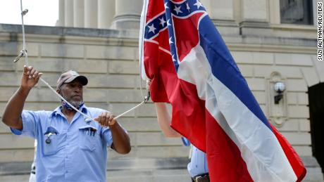 Willie Townsend, an employee of the Mississippi State Capitol, on June 30, 2020, hours before Mississippi Governor Tate Reeves signed a bill into law replacing the current state flag.