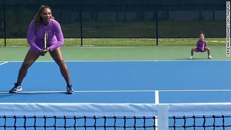 Serena Williams played tennis alongside daughter Olympia.