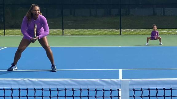 Serena Williams has taken to the court with her daughter Olympia with competitions on hold.