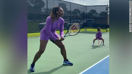 Serena Williams posted this photo to Instagram of her and her daughter playing tennis, with the message, 'Caption this.'