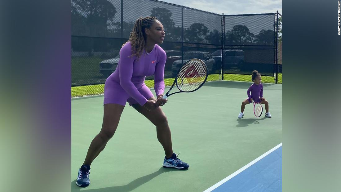 Serena Williams takes to the tennis court with daughter Olympia
