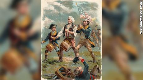 "An image based on an iconic painting, ""Spirit of '76,"" that depicts American patriots of the colonial era."