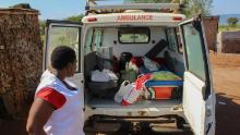 MSF mobile clinic visits patient homes delivering drug refills and food support