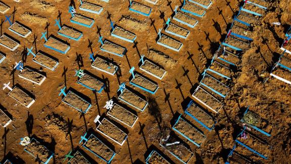 The graves in the Nossa Senhora Aparecida cemetery in Manaus, Brazil, as seen from above on June 21, 2020.