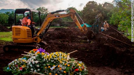 The tomb of an evangelical pastor, who reportedly died from Covid-19, at a cemetery in Managua, Nicaragua, June 5, 2020.