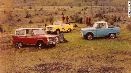 Classic Ford Broncos, like these 1969 models, have become highly collectible.