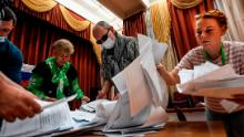 Ballots are counted at a polling station in Moscow on July 1, 2020, after a nationwide constitutional referendum.