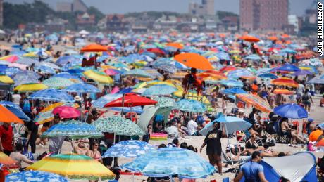 The beach at Coney Island in New York was heavily visited during the holiday weekend.