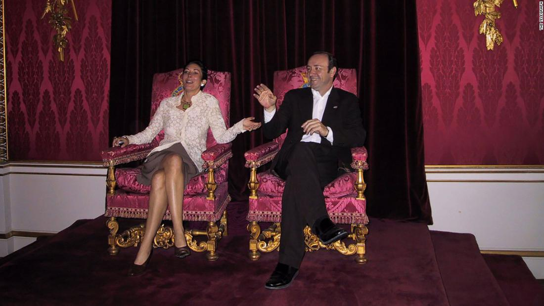 Epstein's alleged accomplice pictured posing on British throne with Kevin Spacey
