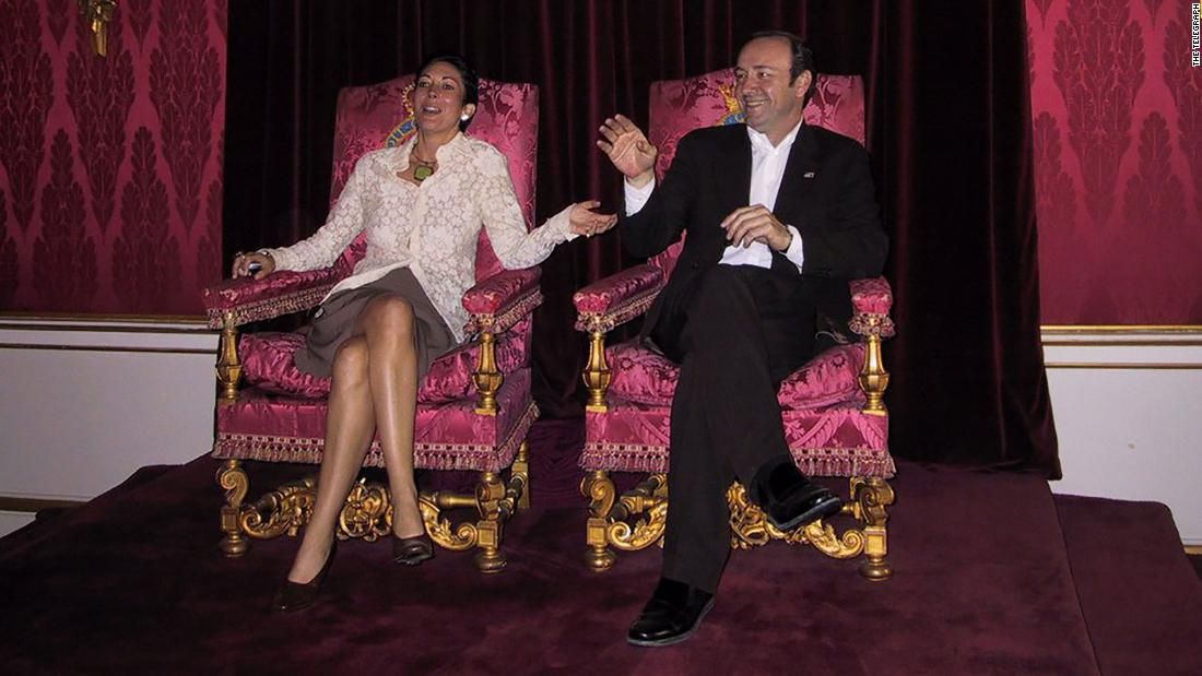 A photograph has emerged of Ghislaine Maxwell sitting on a throne in the Throne Room at Buckingham Palace, alongside actor Kevin Spacey. It is believed to have been taken in 2002.