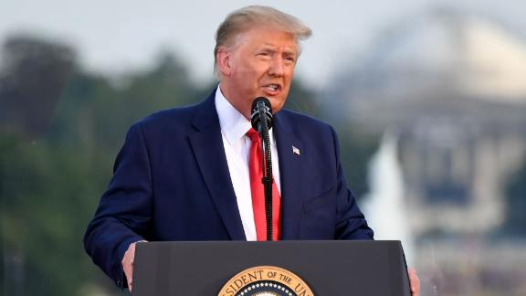 """US President Donald Trump speaks during the 2020 """"Salute to America"""" event in honor of Independence Day on the South Lawn of the White House in Washington, DC, July 4, 2020. (Photo by SAUL LOEB / AFP) (Photo by SAUL LOEB/AFP via Getty Images)"""