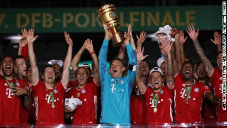 Bayern Munich lift the German Cup after beating Bayer Leverkusen 4-2.