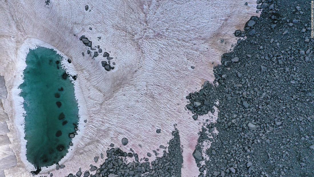 Italian Alps experiencing pink snow