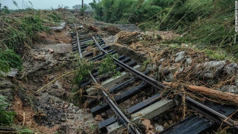 A rail line lies upturned after being submerged by floodwater when the nearby Kuma River burst its banks, on July 5 in Hitoyoshi, Japan.