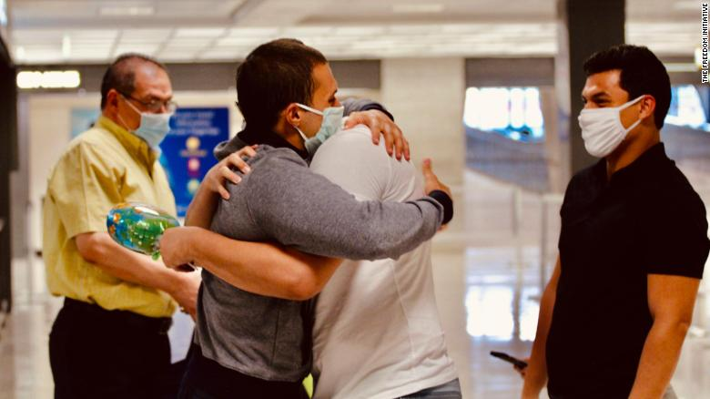 Mohamed Amashah arrives at Dulles International Airport from Egypt on July 6, 2020.