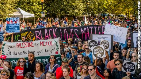 A coalition of grassroots organizers led the March for Racial Justice in 2017. Shown here is the demonstration October 1, 2017, at  Brooklyn Bridge in New York.