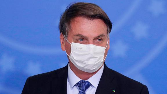 Brazilian President Jair Bolsonaro during the ceremony to extend emergency aid to informal workers, at the Planalto Palace, in Brasília, Brazil, on June 30, 2020.