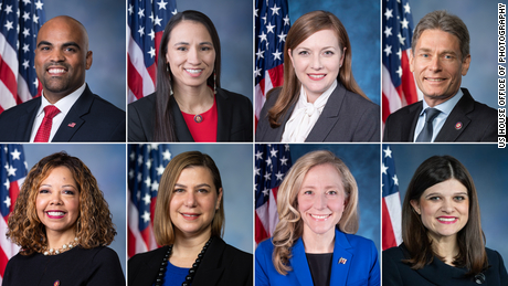 Top, from left to right: Democratic Reps. Colin Allred, Sharice Davids, Lizzie Fletcher and Tom Malinowski. Bottom, from left to right: Democratic Reps. Lucy McBath, Elissa Slotkin, Abigail Spanberger and Haley Stevens. All were elected in 2018 in House districts that have many more college graduates than the national average.