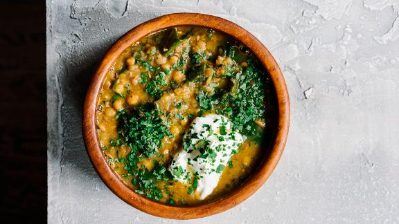 Lentil Soup with Kale & Sour Cream