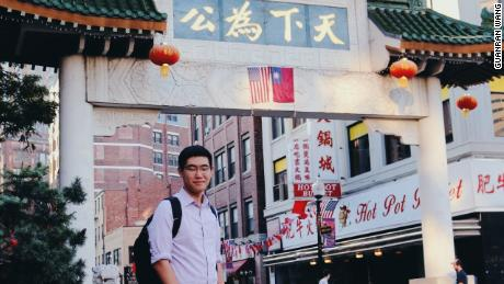 Tianyu Fang in Boston's Chinatown. Fang completed his high school in the Boston area.