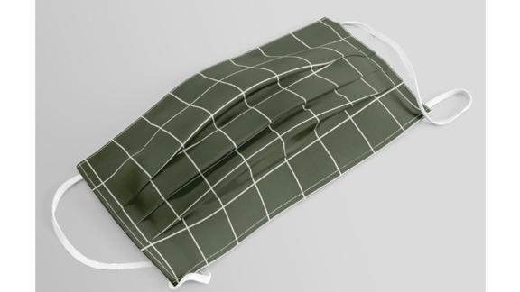 Small Grid Pattern - Deep Green Face Mask